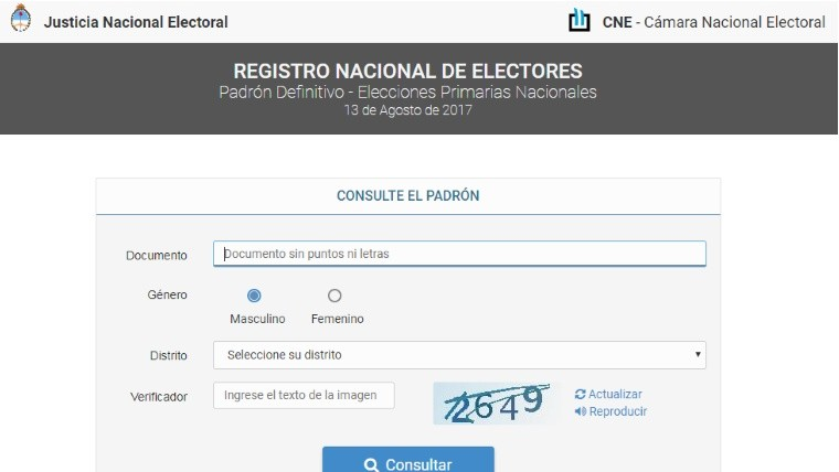 ¿Dónde voto? Consultá el padrón provisorio para las elecciones 2017