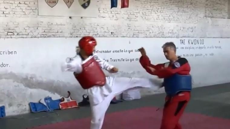 Bruno junto a su Claudio, su entrenador, en pleno entrenamiento.