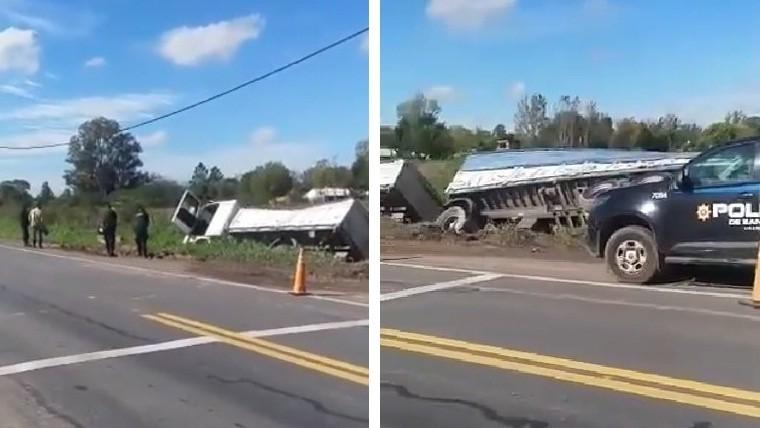 Un camionero falleció al volcar sobre la ruta 34 — Ibarlucea
