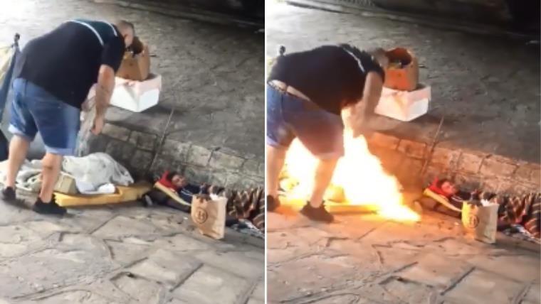 El momento en que el hombre arroja un líquido inflamable y enciende el fuego.
