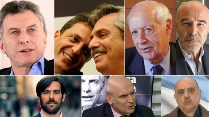 Macri, Fernández con Massa, Lavagna, Gómez Centurion, Del Caño, Espert y Biondini.