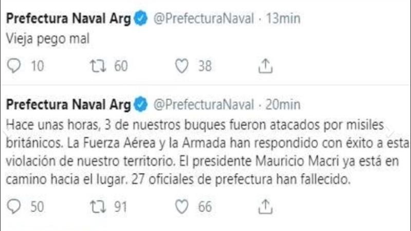 Los tuits que se filtraron en la cuenta oficial de Prefectura Naval.