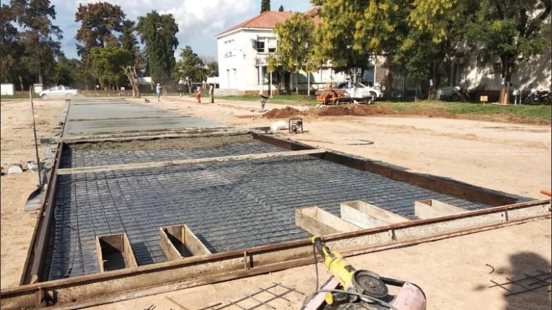 Las bases del futuro hospital de emergencia de Granadero Baigorria.