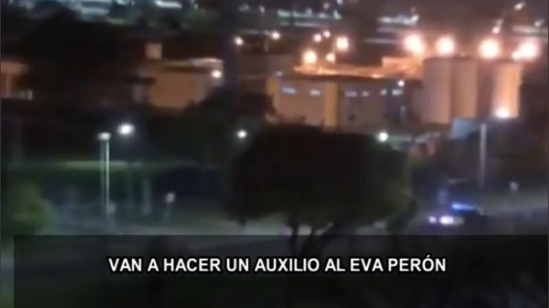 El oficial lesionado fue llevado al Eva Perón, donde seguía internado.