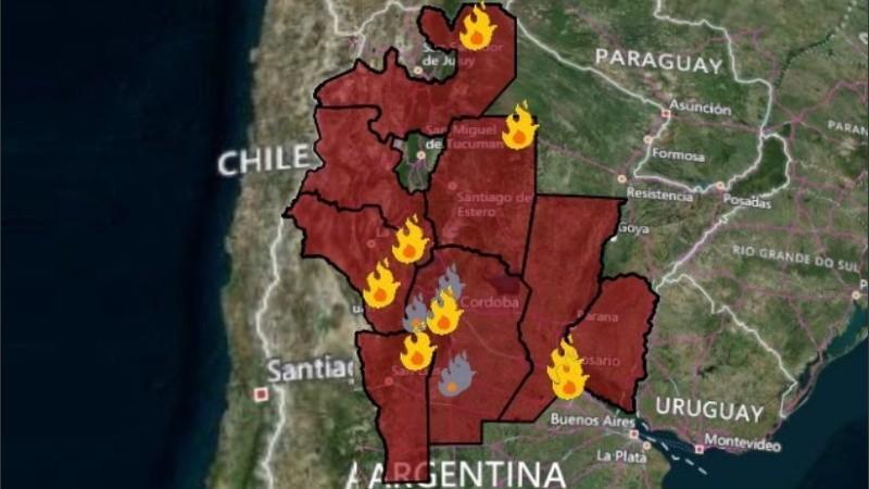 El mapa del fuego que elabora el Sistema Nacional de Alerta y Monitoreo de Emergencias.