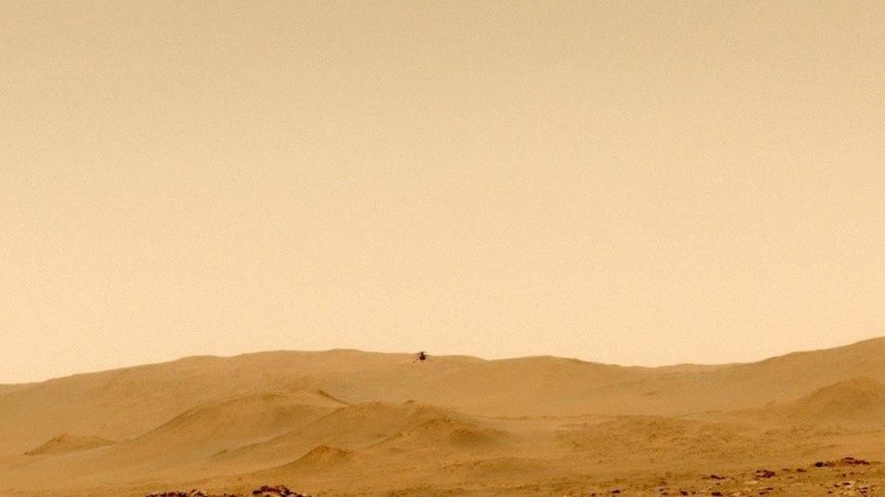 Video: el helicóptero Ingenuity marcó nuevos récords en su quinto vuelo en Marte
