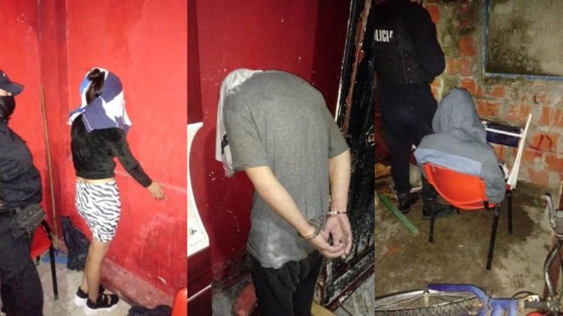 Los dos hombres y la mujer detenidos tras el crimen.