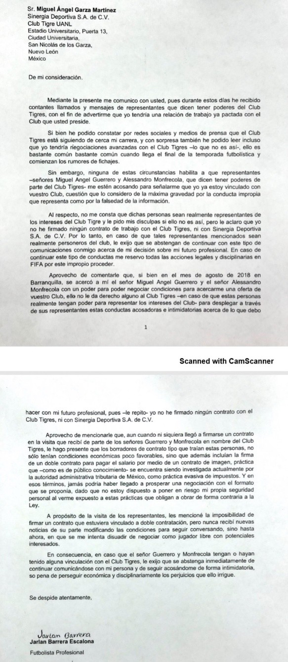 La carta de Barrera